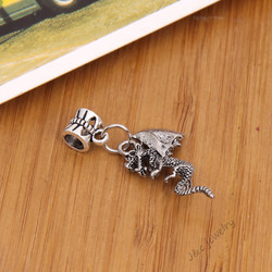 10 pcs Vintage silver plated big hole bead fit Pandora charm Dragon pendants for European bracelet DIY jewelry 28173