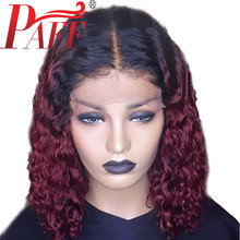 PAFF 13*4 Short Curly Human Hair Wig Ombre Red Lace Frontal Burgundy Front Wigs With Baby India remy