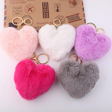 GHRQX NEW Lovely Heart Shaped Pom Poms  Imitation Rabbit Fur Ball  Toy Doll Bag Car Key Ring Monster Keychain Jewelry Gift