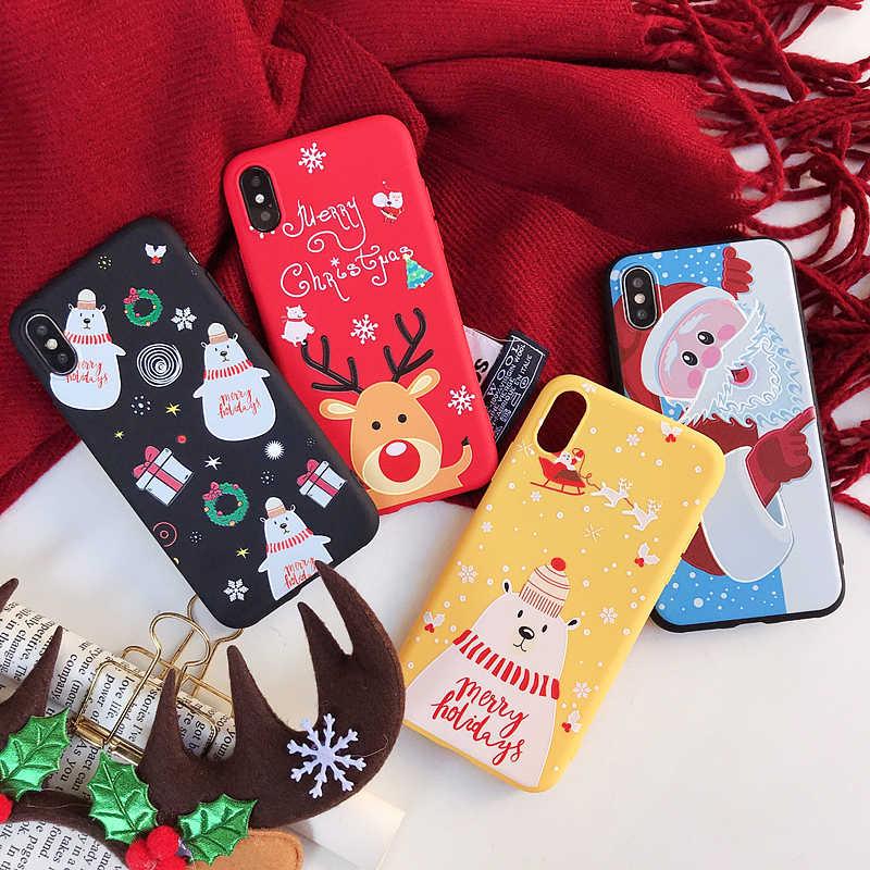 آيفون X XS XR XS ماكس سانتا كلوز حالات XSY & G ماتي عيد الميلاد غطاء الهاتف سيليكون TPU آيفون 6 7 6s 8Plus Fundas كوكه