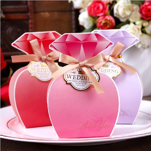 Red Purple Fuchsia Diamond Wedding Boxes 2015 Party Decorations Sweet Favors Holder Candy Gift