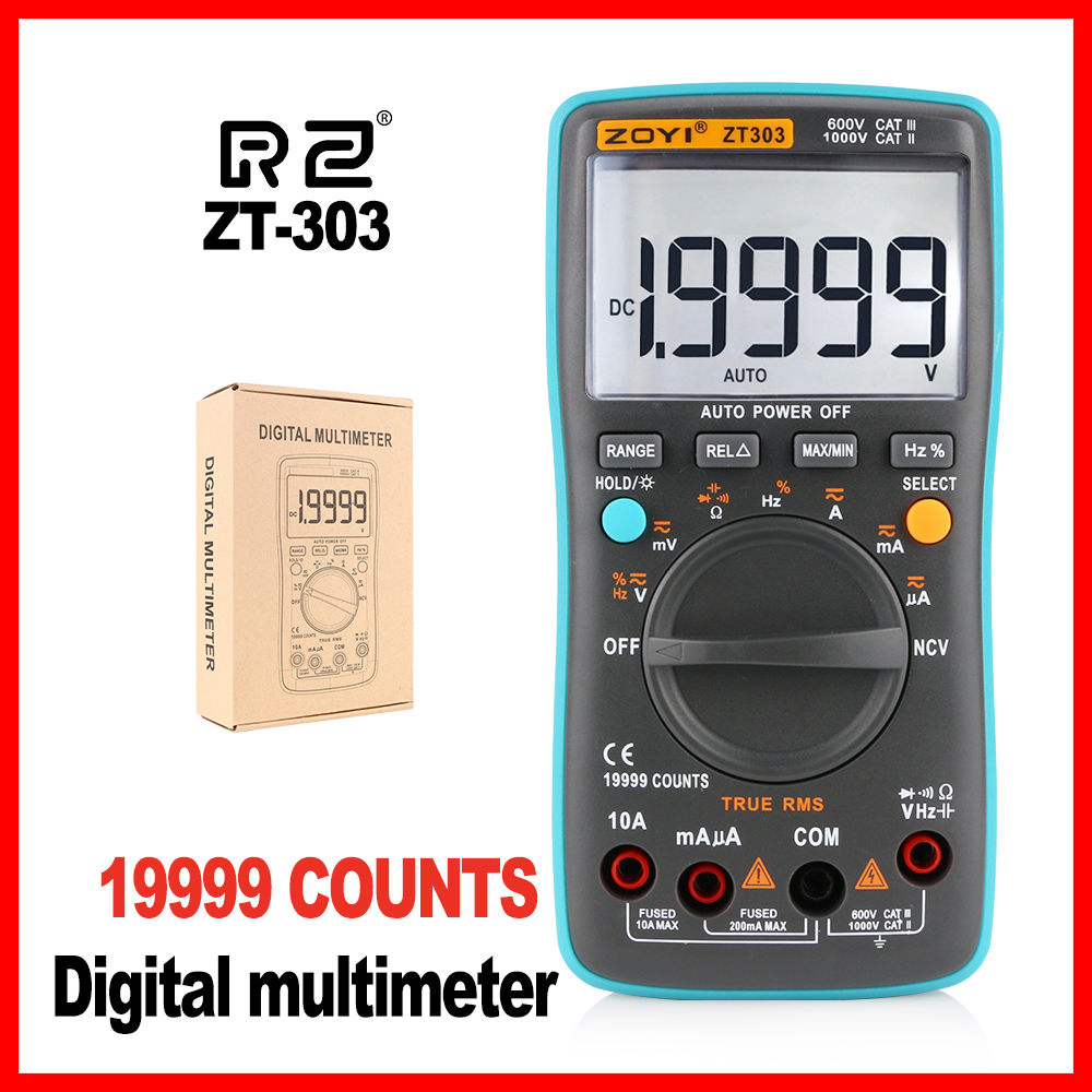 High Quality Professional Industrial LCD Digital Multimeter Backlight high accuracy Multimeter ZT303