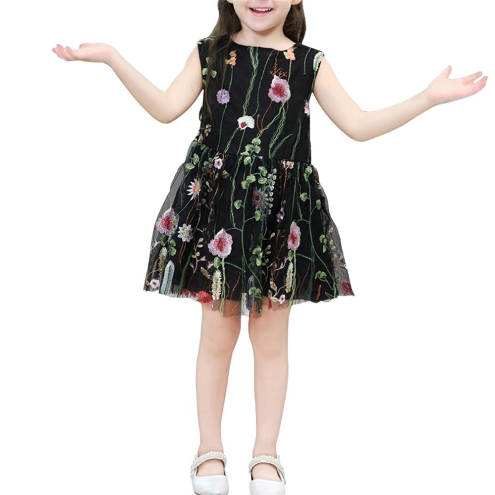 2018 Summer Kids Girl Dresses Sleeveless Printed Flowers Mesh Ball Gown Dresses Toddler Girls Clothes 2-8Y Princess Costume