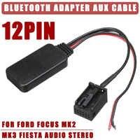 12V 12Pin Port arrière voiture bluetooth adaptateur sans fil Audio stéréo Aux câble accessoires Auto pour Ford pour Focus Mk2 MK3 pour Fiesta