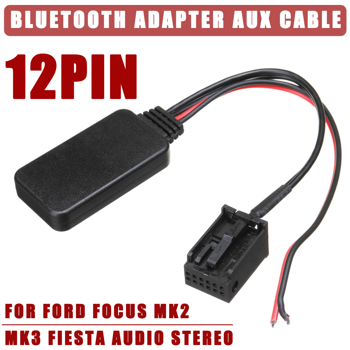 12V 12Pin Rear Port Car Bluetooth Adapter Wireless Audio Stereo Aux Cable Auto Accessories For Ford For Focus Mk2 MK3 For Fiesta