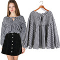 Lolita Blouse 2017 Spring Autumn Plus Size Blouses Lantern Sleeve Lace-up Ladies Tops Baby-doll Style Cute Plaid Shirt Women