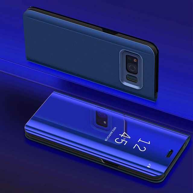 new arrival efcfc c76e1 Business Touch Flip Stand Samsung Galaxy S9 S8 Plus S6 S7 Edge S6edge Note8  Note5 Note8 Phone Smart Mirror Cover