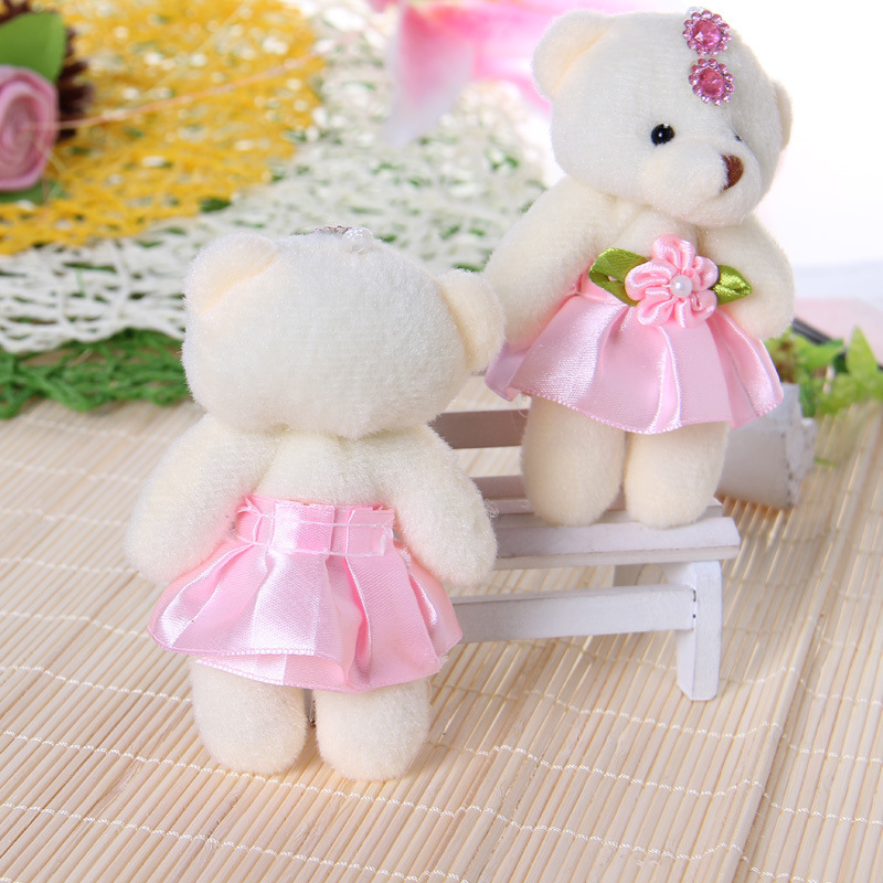 50 pcs /slot 11 12cm Cute Mini Plush Flower Dress Teddy Bear for ...