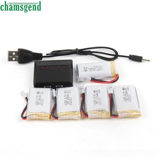 Chamsgend 3.7 В 800 мАч lipo Батарея (5 шт.) с 5 в 1 Зарядное устройство для x5c x5sw X5 l15 Drone 24 мая P30