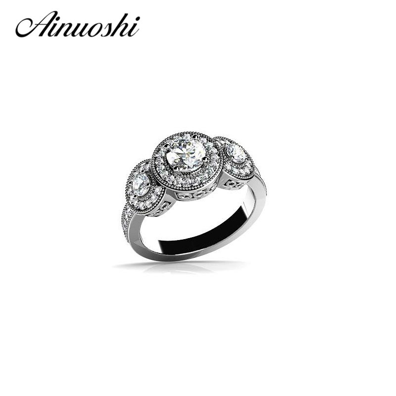 AINOUSHI Vintage Halo Rings Jewelry Women Silver Ring 925 Sterling Silver Elegant Wedding Engagement Bague for Lady Bijoux men wedding band cz rings jewelry silver color anillos bague aneis ringen promise couple engagement rings for women