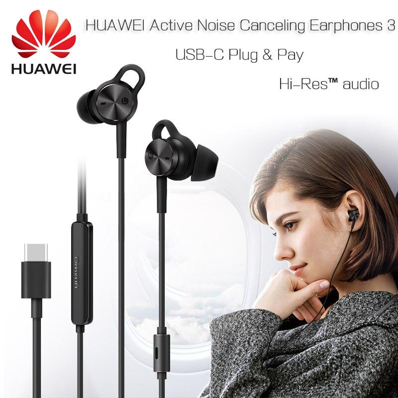 HUAWEI Fones De Ouvido Com Cancelamento De Ruído Ativo 3 Original USB Tipo C ANC 3 CM-Q3 Hi-Qualidade Companheiro Música 10 Res 20 RS P20 Pró Honra V 10