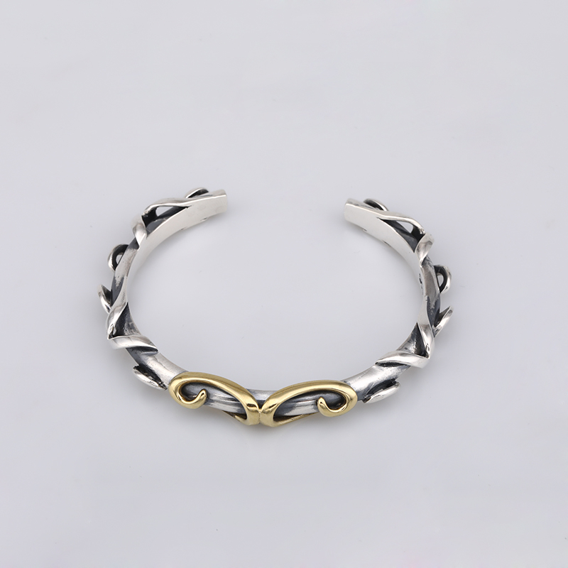 Solid Fine 925 Sterling Silver Mens Cuff Bracelet Bangles China Style Vine Oxide Thai Silver Thick Bracelet Men 925 Jewelry GiftSolid Fine 925 Sterling Silver Mens Cuff Bracelet Bangles China Style Vine Oxide Thai Silver Thick Bracelet Men 925 Jewelry Gift