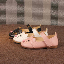 Spring summer Children girls Pu shoes Girls Shoes Flat Princess Shoes cute mouse 26-30 pink black white 2kinds A5 TX06