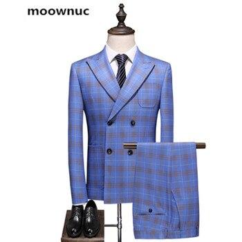 (Jacket+Vest+Pants) 2019 autumn Men's business wedding Suit men Full dress Men fashion latticed Suits Classic suits S--5XL