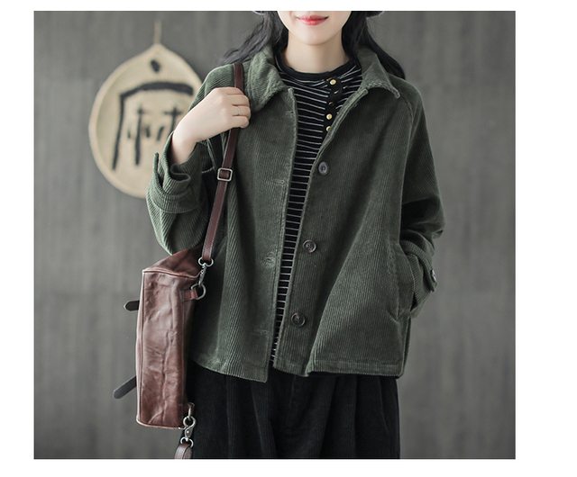 cb8c59d954c Japanese Mori Girl Hippie Boho Autumn Jacket Female Solid Color Corduroy  Jacket Women Casual Corduroy Tunic