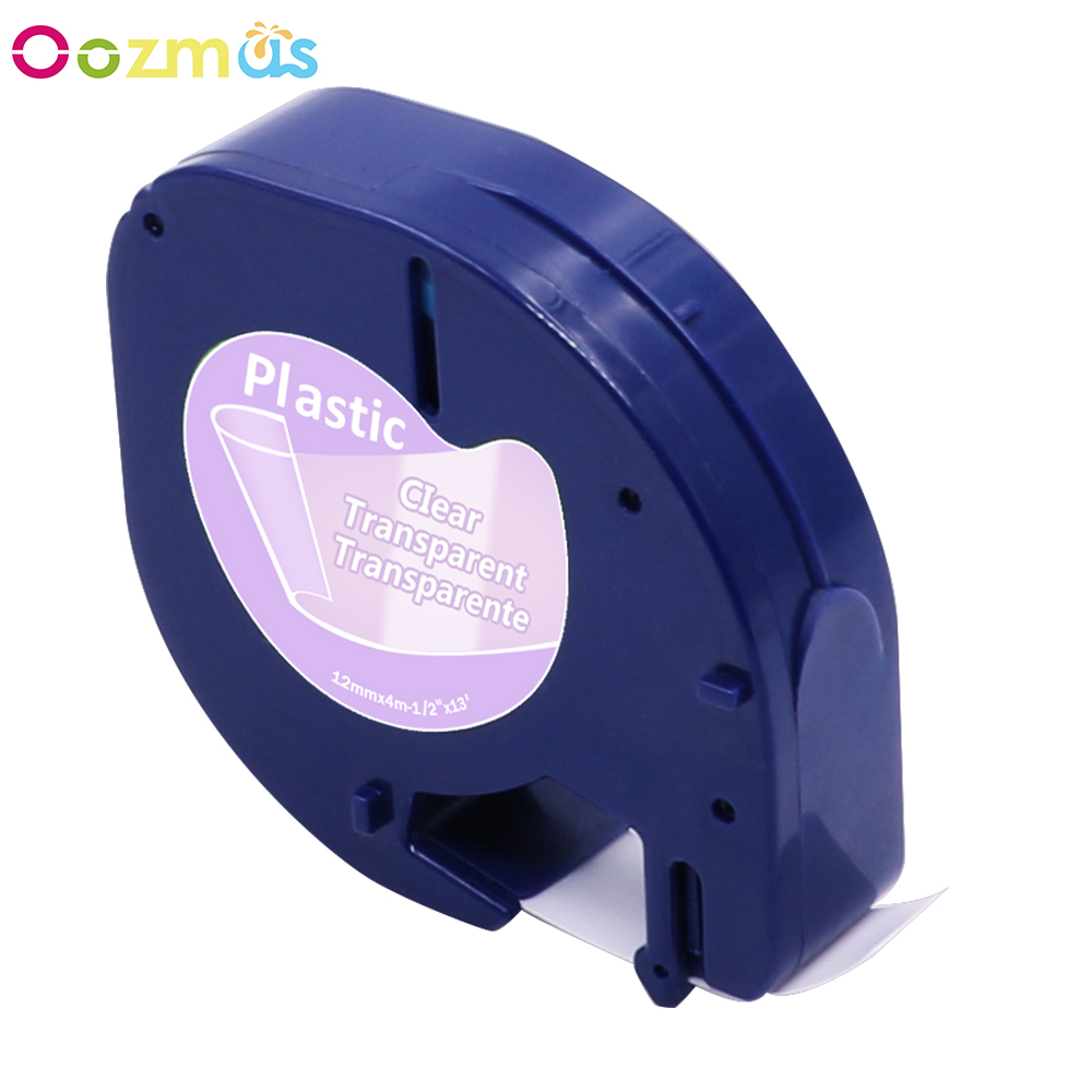 3PK Compatible For DYMO LetraTag LT100H 16952 Plastic Label Tape Black on Clear