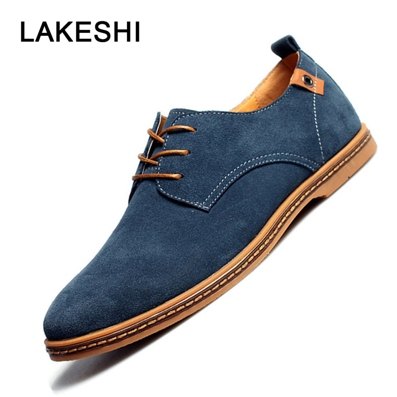 LAKESHI 2019 Spring New Men Shoes Casual   Suede     Leather   Shoes Mens Loafers Black Oxford Shoes For Men Zapatos Hombre Size 38-48