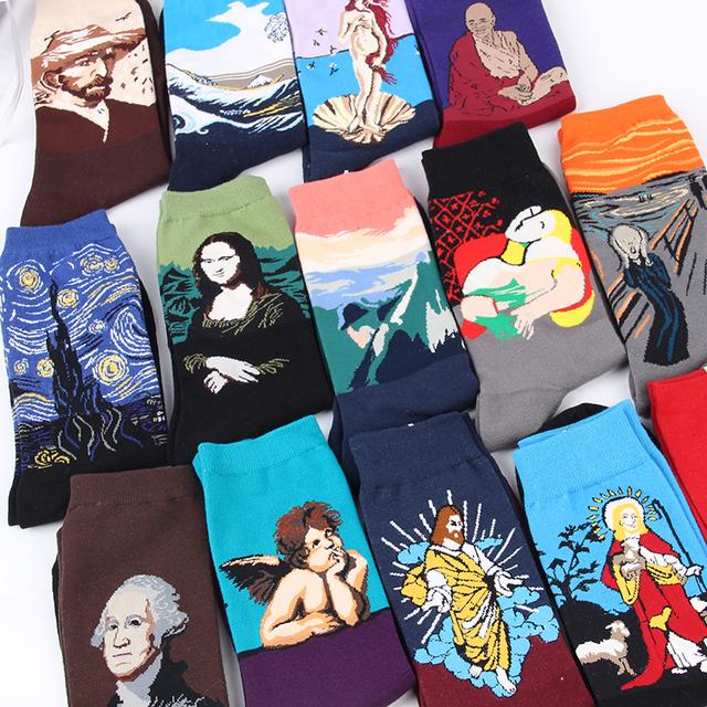 Men Funny Art Dress Socks Color Lot Men's Summer Fashion Socks