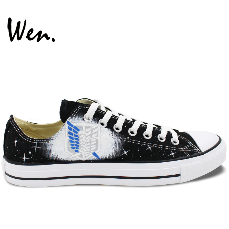 Wen Hand Painted Shoes Custom Design Casual Shoes Anime Attack On Titan Men Women's Low Top Canvas Shoes Christmas Gifts e lov fashion brand custom hand painted taurus horoscope canvas shoes low top casual shoes espadrilles design for lovers