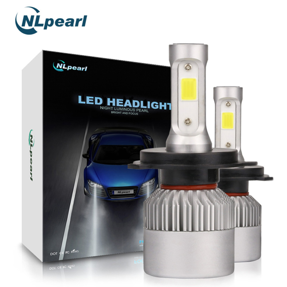 цена на NLpearl S2 COB 2Pcs H4 Led Headlight Car Bulb Auto Lamps H7 H1 H3 H11 H13 9005 9006 H7 Bulb Light Turbo Led H4 8000LM/Pair 6500K