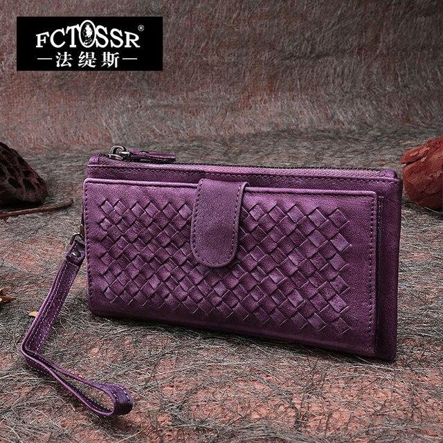 2017 Original Design Personalized Genuine Leather Handmade Women Handbag Vintage Casual  Plaid Bag Day Clutch