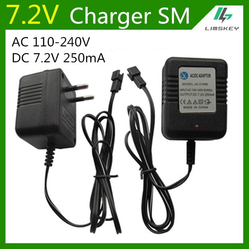 7.2V 250 mA Charger Fpr NiCd and NiMH battery pack  charger For toy RC car AC 110V-240V  DC 7.2v 250mA SM black Plug free shipping dji phantom series of intelligent battery charger included car charger car plug for rc battery