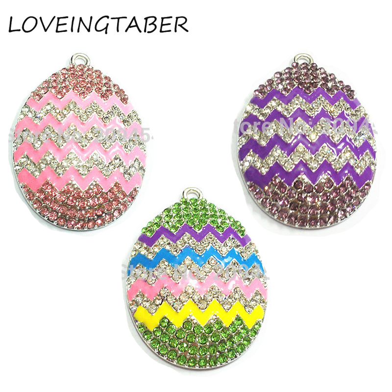 ( Choose Color First ) 42mm*34mm 10pcs/lot Enamel Stripe Easter Zig Egg Rhinestone Pendants For Necklace