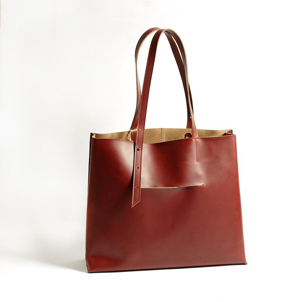Große Casual Brown Hochwertige Damen Mode Frauentasche Umhängetasche Tote schokolade 2018 Echtem Leder Stamm Taschen Handtaschen fqwXWExB