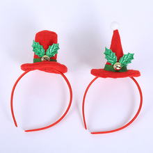 цена на 1pc Christmas Red Top Hat Headbands Creative Santa Claus Hat Headwear New Year Kids Little Gifts Xmas Christmas Hair Accessories