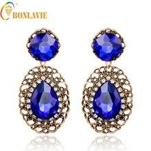 Bonlavie 1 Pair Blue Color Luxury Drop Bridal Earrings for Women Waterdrop Crystal Long Fashion Wedding