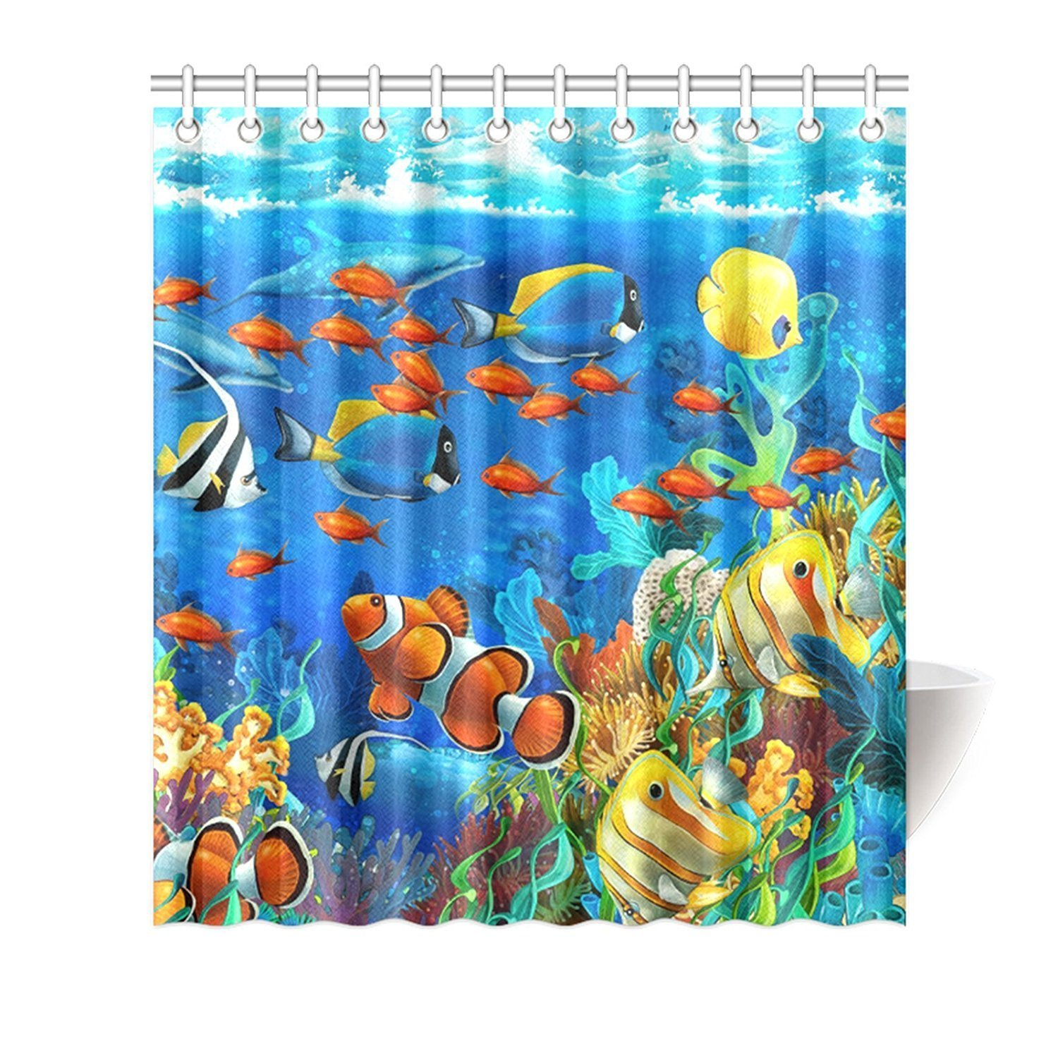 Undersea Tropical Fish Shower Curtain Liner Bathroom Set