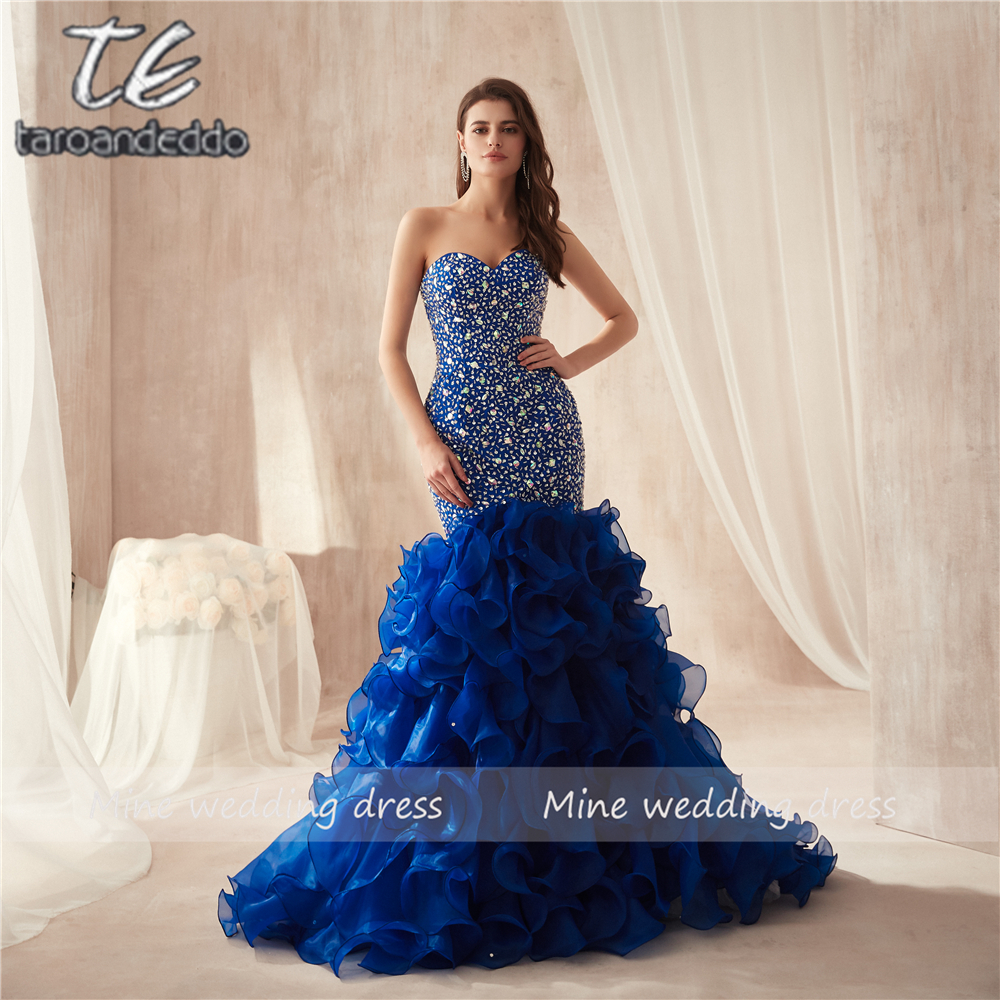 Strapless Royal Blue Colorful Beading Mermaid Prom Dresses Ruffled Organza Plus Size Famous Evening Gowns Party
