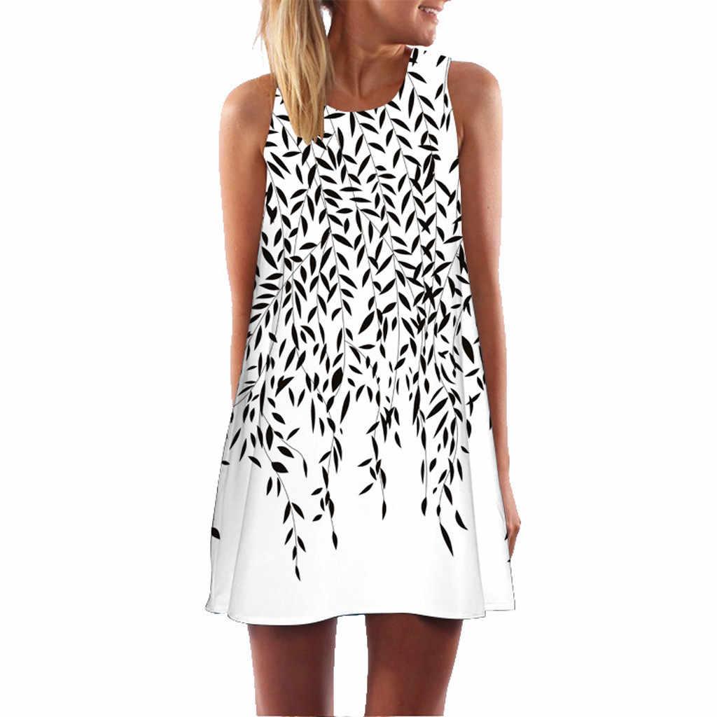 Feitong 2020 Wanita Lucu Kucing Mini Gaun Musim Panas Wanita Tanpa Lengan Liburan Pantai Mini Gaun Jubah Femme Vestidos VERANO 2019 Baru