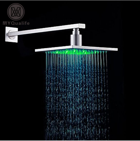 Brushed NIckel LED 3 Color Changing Square 8 Rainfall Shower Head with Wall Mount 37cm Shower Arm 8 square led color changing shower head wall mount bathroom top head brass shower arm