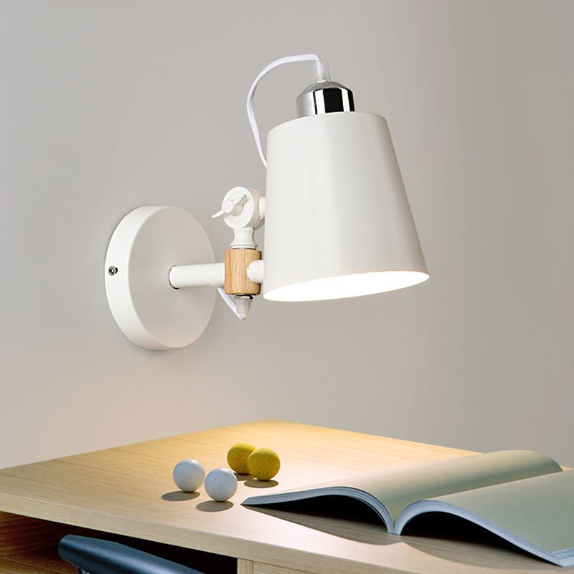 Fashion Nordic Wall lamp bedroom bedside balcony warehouse study aisle cafe porch light adjustable wood wall light bra sconce fashion nordic living room bedside wall lamp porch balcony porch light solid wood creative light simple black and white