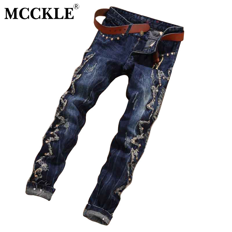 MCCKLE Brand Designer Mens Ripped Jogger Jeans  Rivet Slim Fit Straight Distressed Denim Pants Male Destroyed Jean Trousers 8pcs lot movie super hero 2 avenger aochuang era kid baby toy figure building blocks sets model toys compatible with lego