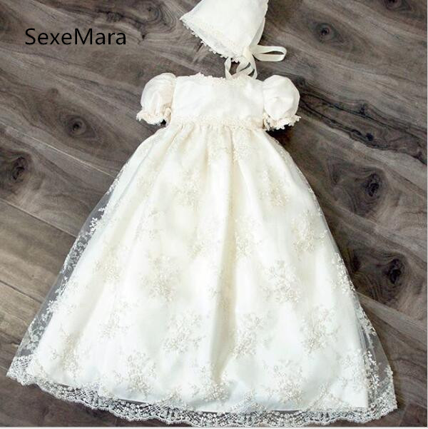 2019 High Quality White or Ivory Christening Gown for Baby Girls Short Sleeve O Neck Long Dress Infant Baptism Dress with Bonnet high quality newest 2018 designer fashion runway dress women s short sleeve v neck gorgeous print pleated midi dress