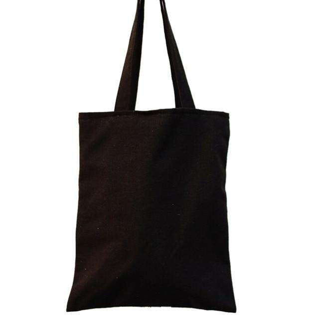 1pcs Reusable Simple Design Shoulder Carrying Bag Black Canvas Ping Tote Vintage Style Cloth Eco