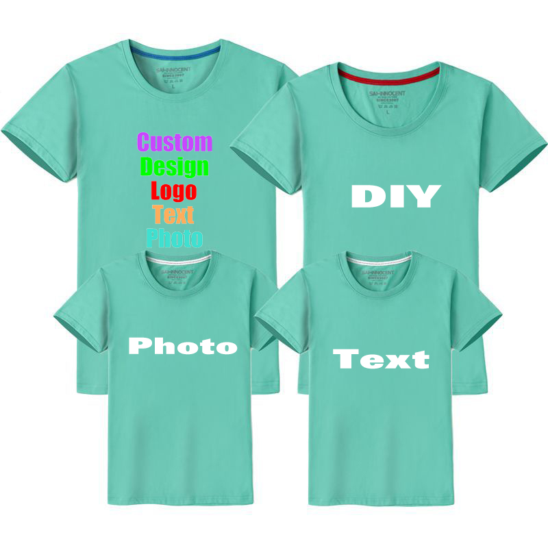 Customized Custom Logo Photo Text Printed Family T-shirt Parent-kid Men  Women Child Children Girl Lovers Couples Boy T shirt Top