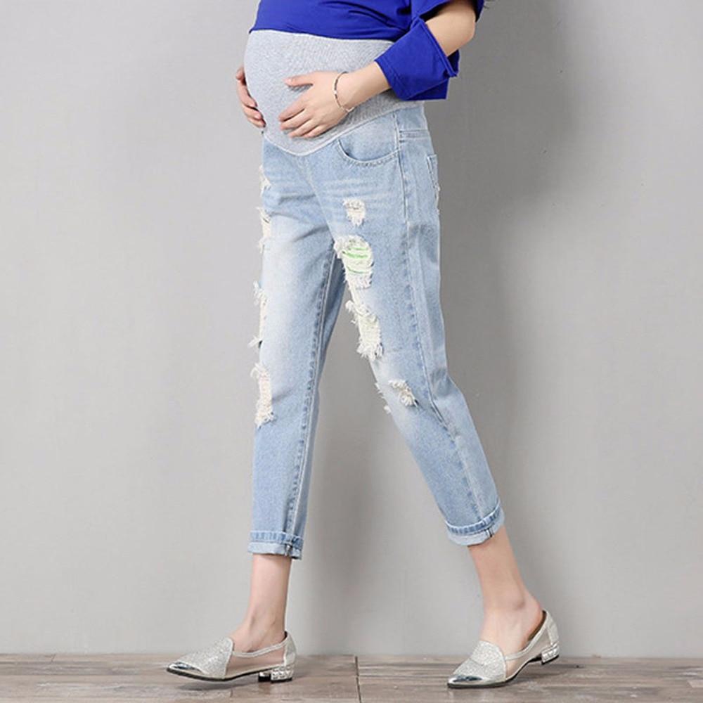 2c6c9e10d Cielo Algodón De Cómodos Ropa Mujeres Azul Overoles Pantalones Embarazadas  Las Denim Vaqueros Embarazo fcZ7a7