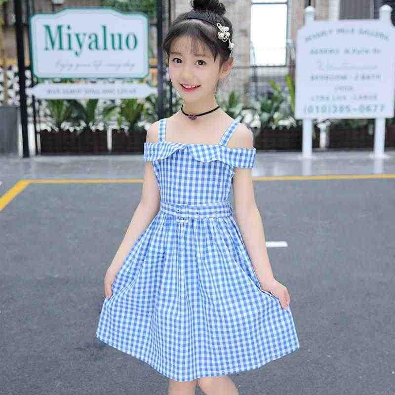 Корейская модная детская одежда в Корейском стиле, летняя одежда в клетку с естественной талией, с короткими рукавами, ажурное платье, милый костюм принцессы для девочек