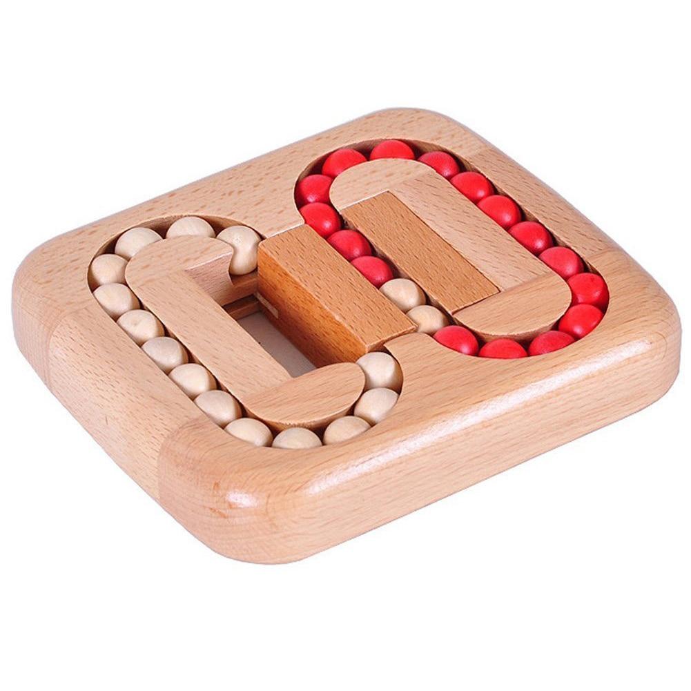 Wooden Ball Maze Puzzle Lock Burr Puzzles Brain Teaser Iq