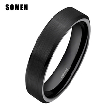 4MM Black Ceramic Ring Classic Simple Style High Quality Jewelry Gift Free Shipping Size 4-12