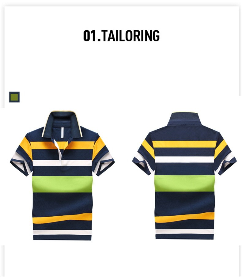 92% Cotton camisa Men Polo Shirt  2015 Casual Striped Slim short sleeves ASIAN SIZE M-4XL 7