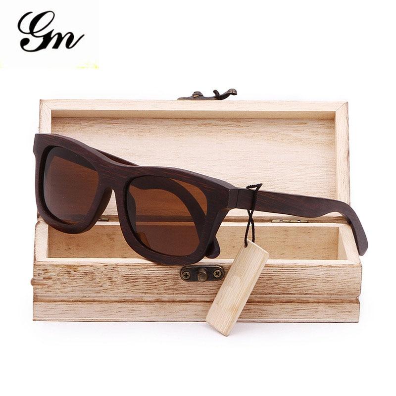 G M 2018 100% madera natural de bambú Gafas de sol polarizadas hechas a  mano espejo Objetivos gafas con caja de regalo f52800a283