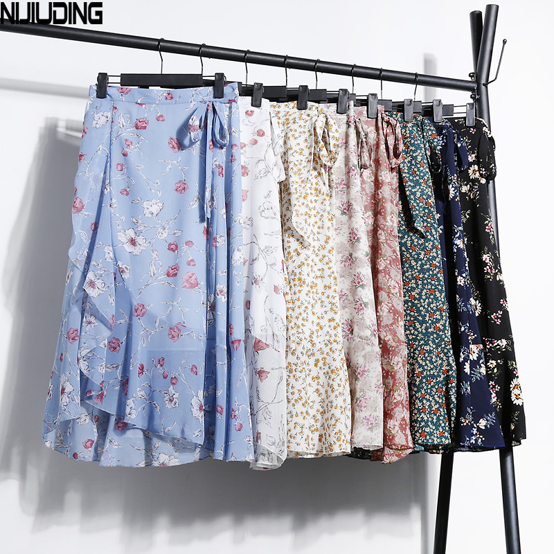 NIJIUDING 2018 New Summer Autumn Women Floral Chiffon Skirts Lady Fashion One Piece Printed Ruffles Wrap Skirt Bow Lace-Up Skirt