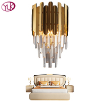 Youlaike Modern Wall Sconce Lamp Luxury Gold Wall Light Fixtures Bedside Living Room Wall Lamps
