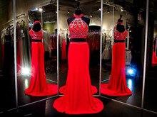Herrliche Rote Lange 2 Stück Prom Kleider Mit Kristallen Hohe Qualität Vestidos Para Festa Billige Partei Abendkleid 2015 Heißer Verkauf