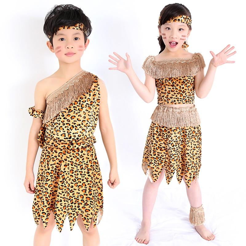 Children Savage Caveman Costumes Boy Leopard African Tribal Hunter
