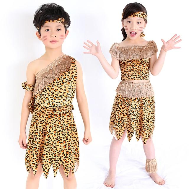 children savage caveman costumes boy leopard African tribal Hunter clothing for girl Performance costumes cosplay dress  sc 1 st  AliExpress.com & children savage caveman costumes boy leopard African tribal Hunter ...